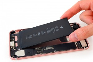 The iPhone 7 Plus' battery is shown during a iFixit's teardown of the phone in Japan